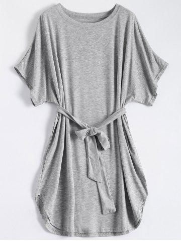 Store Casual Batwing Sleeve Belted Mini Dress - S GRAY Mobile