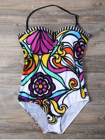 Womens Strapless Flower Print One-Piece Swimwear - S WHITE Mobile