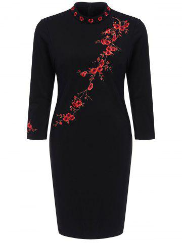 Blossom Floral Embroidered Fitted Dress - Black - 3xl
