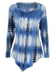 Tie-Dye Plus Size Asymmetric T-Shirt