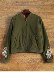 Embroidered Lined Quilted Bomber Jacket - ARMY GREEN