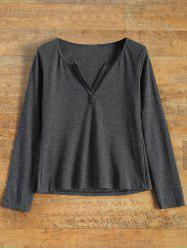 Notched Neck Long Sleeve Pullover Knitwear