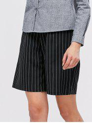 High Waist Striped Wide Leg Chino Shorts