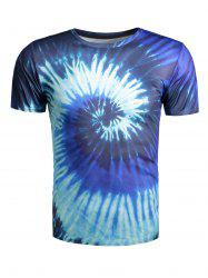 Color Block Vortex Print Short Sleeve T-Shirt -