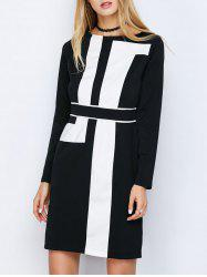 Long Sleeve Mini Color Block Shift Dress