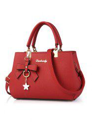 Bowknot Detail Textured Handbag - RED
