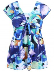 Plus Size Floral One Piece Skirted Swimsuit