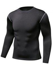 Stretch Crew Neck Stitching Gym T-Shirt
