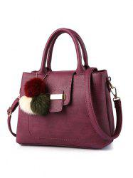 Faux Leather Pompon Detail Handbag