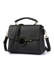 Flapped Rivet Detail Handbag
