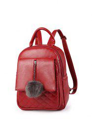 Quilted Panel Pom Pom Detail Backpack