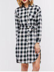 Check Plaid Long Sleeve Mini Shirt Dress