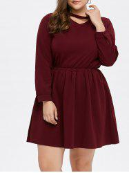 Choker Neck Mini Long Sleeve Dress