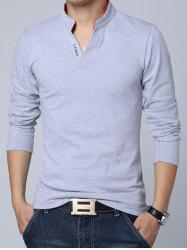 Stand Collar Long Sleeve Cotton Polo Shirt - GRAY