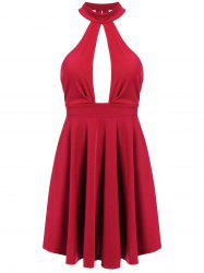 Low Back Keyhole Mini Cocktail Skater Dress - RED S