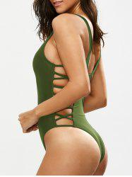 Lacing Up One Piece Swimsuit - GREEN