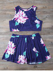 Floral Print Crop Top and High-Waisted Shorts Twinset