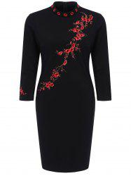 Blossom Floral Embroidered Fitted Dress - BLACK 2XL