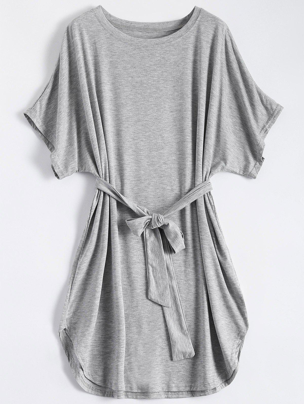 Sale Casual Batwing Sleeve Belted Mini Dress