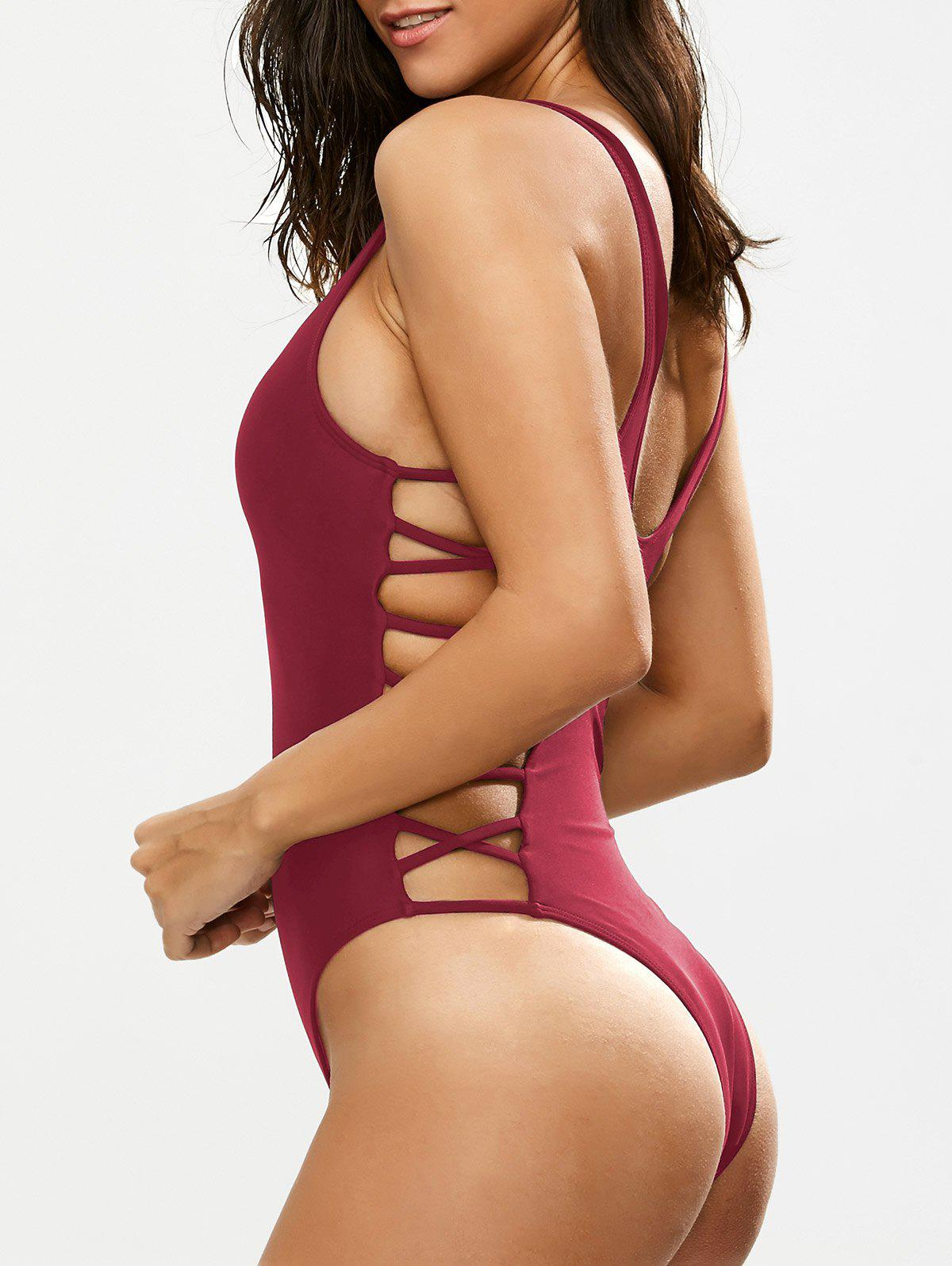Lacing Up One Piece SwimsuitWOMEN<br><br>Size: L; Color: BURGUNDY; Swimwear Type: One Piece; Gender: For Women; Material: Nylon,Polyester,Spandex; Bra Style: Padded; Support Type: Wire Free; Neckline: Plunging Neck; Pattern Type: Solid; Waist: Natural; Elasticity: Elastic; Weight: 0.2700kg; Package Contents: 1 x Swimsuit;