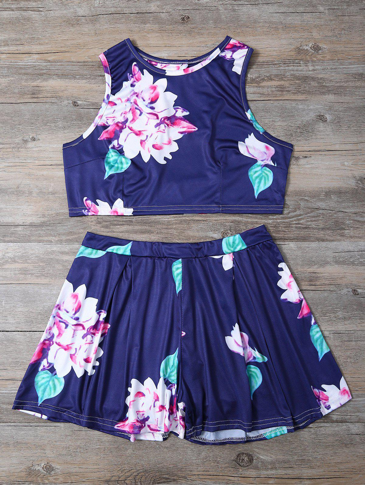 Outfit Floral Print Crop Top and High-Waisted Shorts Twinset