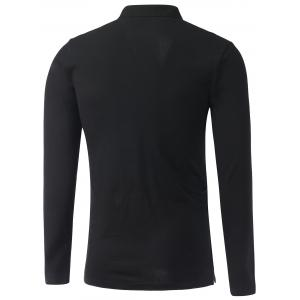 Stand Collar Long Sleeve Cotton Polo Shirt - BLACK 2XL
