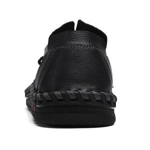 Textured Leather Whipstitch Casual Shoes - BLACK 43