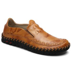Whipstitch Leather Casual Shoes - Brown - 44