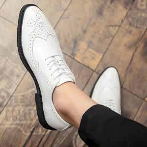 Wingtip Faux Leather Formal Shoes - WHITE 44