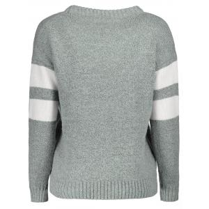 Casual Round Collar Color Block Long Sleeves Pullover Sweater For Women -