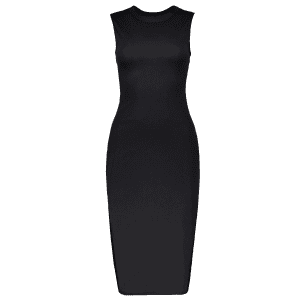 Sleeveless Back Cutout Side Slit Bodycon Party Dress - BLACK L
