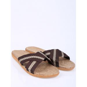 Linen Color Block Slippers -