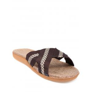 Linen Color Block Slippers - Coffee - Size(42-43)