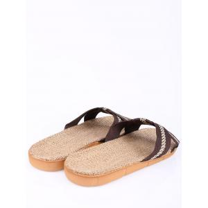 Linen Color Block Slippers - COFFEE SIZE(42-43)