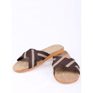 Linen Color Block Slippers - COFFEE SIZE(44-45)