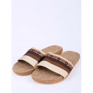 Striped Ombre House Slippers - COFFEE SIZE(42-43)