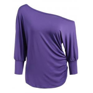 Skew Neck Long Sleeve Draped T-Shirt