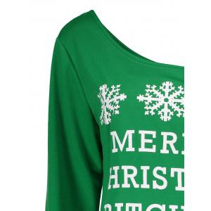 Snowflake and Letter Print Christmas Green Sweatshirt -