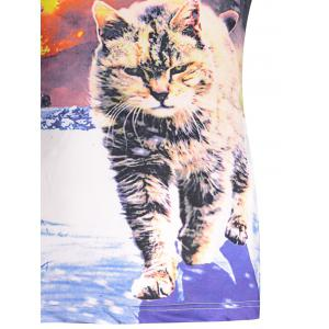Hot Sale Round Neck 3D Explosion Cat Print Short Sleeves Cool T-Shirt For Men -