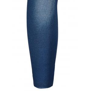 Stylish Bleach Wash Hole Jean Legging For Women -