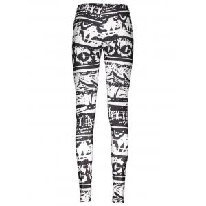 Casual Abstract Printed Bodycon Leggings For Women - WHITE AND BLACK L