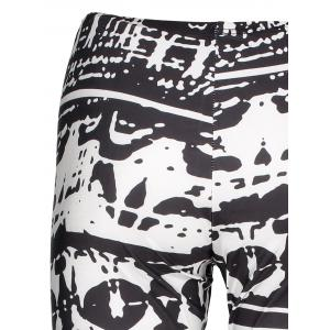 Casual Abstract Printed Bodycon Leggings For Women - WHITE/BLACK L