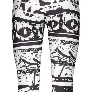 Casual Abstract Printed Bodycon Leggings For Women - WHITE/BLACK XL