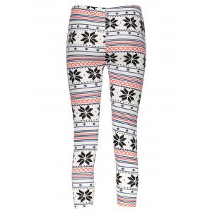 Stylish Women's High Waist Geometrical Print Color Block Leggings - COLORMIX ONE SIZE(FIT SIZE XS TO M)
