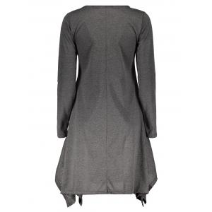 Stylish Round Neck Long Sleeve Spliced Asymmetrical Women's Dress - GRAY M
