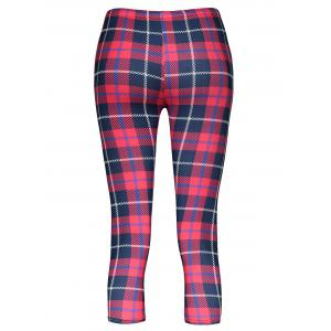 Trendy Plaid Bodycon Elastic Waist Women's Leggings - RED ONE SIZE(FIT SIZE XS TO M)