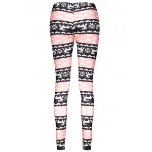 Fashionable High Waist Color Block Heart Printed Bodycon Leggings For Women - COLORMIX L