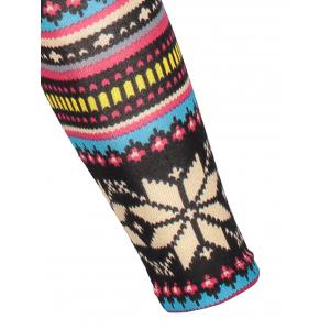 Vintage Colorful Snowflake Printed Bodycon Leggings For Women -