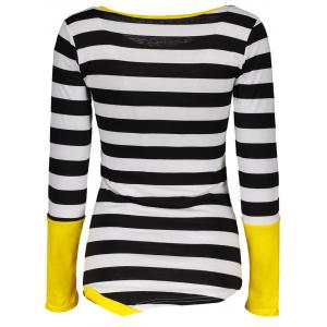 Stylish Scoop Neck Long Sleeve Color Block Striped Women's T-Shirt -