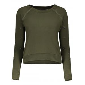Stylish Scoop Neck Long Sleeve Army Green Hole Design T-Shirt For Women